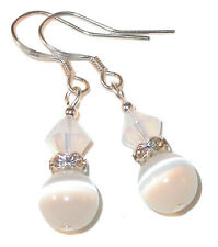 WHITE Crystal & Cat's Eye Earrings Sterling Silver Dangle Swarovski Elements