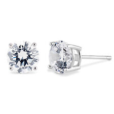 Solid Sterling Silver Basket Set Round CZ Stud Earrings