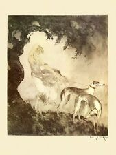 Gust of Wind Lady with Two Greyhounds Dogs by Louis Icart Fine Art Repo FREE S/H