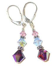 LAVENDER BLUE PURPLE Crystal Earrings Dangle Sterling Silver Swarovski Elements