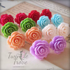Opaque Rose Carved Flower Stud Earrings. Vintage Shabby Chic Style- Bridesmaid