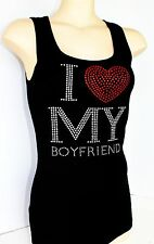 RHINESTONE  I LOVE MY BOYFRIEND  TANK TOP  NEW  MADE IN USA S M L XL 1XL 2XL 3XL