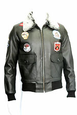 TOP GUN MENS FASHION CLASSIC, SPORT,FUR COLLAR BLACK LEATHER BOMBER JACKET