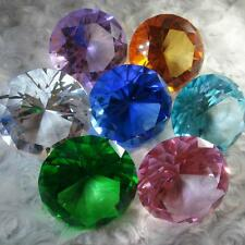 Brilliant Cut Diamond Shape Crystal Glass Paperweight Gem Display (Pick Color) S