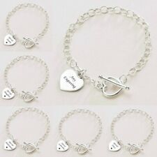 Sterling Silver Engraved Charm Bracelet With Heart Toggle - Free Engraving