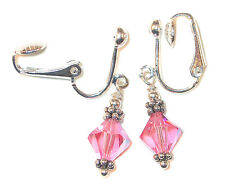 PINK Crystal Earrings Sterling Silver OCTOBER Birthstone Swarovski Elements