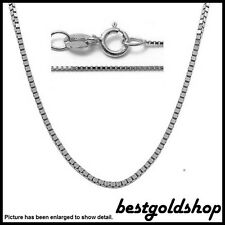 0.60mm 10K WHITE GOLD Classic Square Box Chain Necklace with Spring Ring Clasp