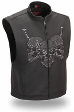 F. Racing Men's Leather Vest Reflective Skulls & Barbwire for Motorcycle Riders