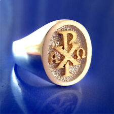 Chi Rho Alpha Omega Ring - 14K Gold & Sterling Silver - Size 9 to 13