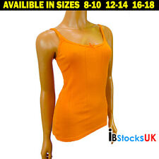 New Orange Ladies Women Ribbed Cotton Casual Vest Top Shirt Ideal For Summer