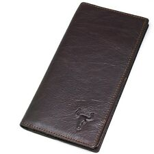 Vintage Brown Genuine Leather Long Men's Wallet Zippered Pocket Purse-BM4222