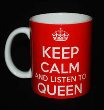 NEW KEEP CALM AND LISTEN TO QUEEN GIFT MUG CARRY ON COOL BRITANNIA RETRO CUP