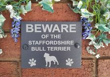 Beware Of The Dog Slate Door Gate House Plaque Sign 17cm x 13cm (Breeds E-H)