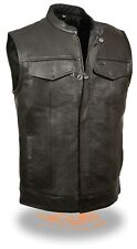 "SOA Men's ""JAX"" Leather Club Cut Vest 2 Inside Gun Pockets Zipper & Snap Front"
