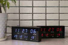 Digital LED Wall Desk Alarm Clock W Calendar Temperature Metal Frame 614