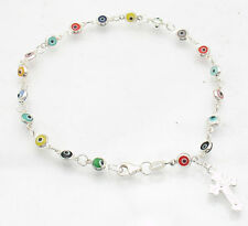 Multi Color Evil Eye Rosary Rosario Bracelet Real Sterling Silver FREE SHIPPING