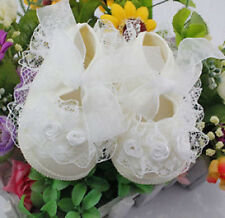 Brand New Baby New born Infant Girls beige Christening Baptism Lace Shoes