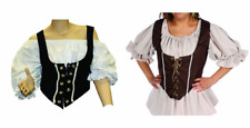 BLACK BROWN ADULT WOMAN RENAISSANCE PIRATE MEDIEVAL BODICE LACE UP COSTUME VEST