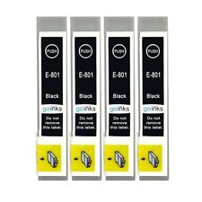 4 Black Ink Cartridges non-OEM to replace T0801 (TO801) Compatible for Printers