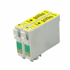 2 Yellow Ink Cartridges non-OEM to replace T0804 (TO804) Compatible for Printers