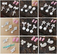 Lots 10 Pcs Silver Plated 3D Alloy Rhinestone Nail Art Glitters Tips Decoration1