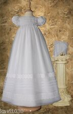 Girls White Christening Baptism Gown Lace & Pin Tucking Organza 3M 6M 12M /OR68
