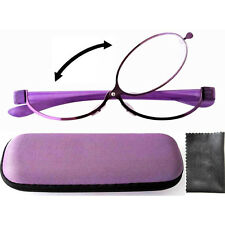 Patent Purple Magnifying Eye Makeup Flip Eyeglasses Glasses, Hard Case, Contacts