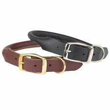 High Quality Genuine Latigo Leather Dog Collars - Flat or Rolled  Black or Brown