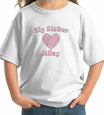 BIG SISTER Heart PERSONALIZED with name Girls T-Shirt white grey pink