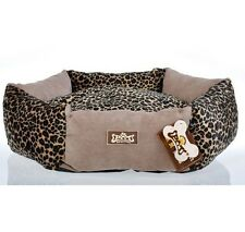 New Luxury Leopard Print Pet Dog Cat Sofa Bed House Kennel Brown