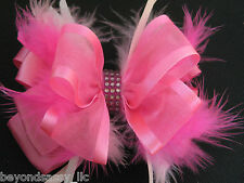 Girls Feather Boutique CANDY Pink,Black Rhinestone Bling Hair Bow Clip,Headband