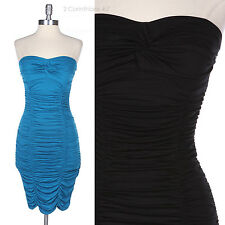 Sexy Strapless Ruched Shirred Tight Fit Clubbing Pencil Dress Cocktail Party