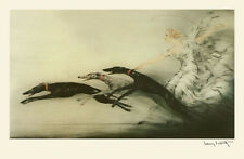 LOUIS ICART SPEED Lady and Greyhounds Dog Large Art Deco Poster Repro FREE S/H