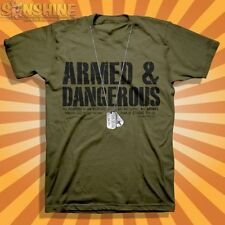 """NEW KERUSSO """" ARMED and DANGEROUS-Dog Tags """" ADULT CHRISTIAN T-SHIRT"""