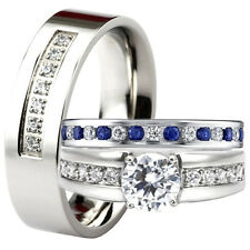 His Hers Stainless Steel Blue Sapphire Eternity Wedding Band Ring Set Men Women