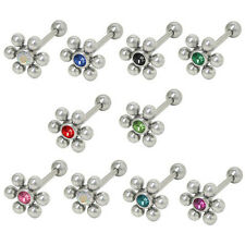 Barbell Tongue Ring Surgical Steel with Jeweled Flower Design - FL070-18