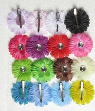 16pcs 2inch small daisy flower baby hair bows clip headband cool 16 color