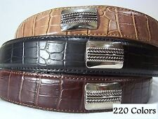 MENS SET OF 3 LEATHER CROCO DRESS CONCH GOLF BELTS ALL SIZES SM, MED, LG, XL