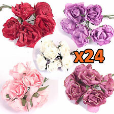 WHOLESALE!!  24x Bunches of 6 Mini Glitter Paper Foam Roses! Artificial Flowers