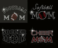 RHINESTONE IRON ON TRANSFER MANY DESIGNS SPORTS MOM FOOTBALL VOLLEYBALL SOCCER