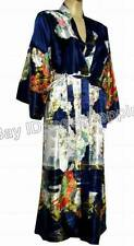 Chinese Dark Blue, Women's Silk Robe Kimono Gown nighty clothes .one size