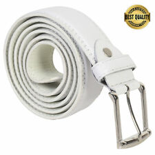 "BELT MENS BIG AND TALL JEANS NEW WHITE LEATHER SIZE 46"" - 64"" GREAT GIFT IDEA"