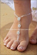 Barefoot Sandals Swarovski Crystals SILVER ROSES beach Bridal Foot Jewellery