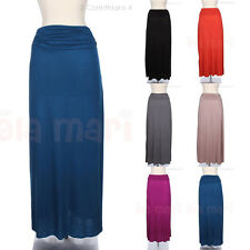 Solid Long Ruched Shirred Side Waistband Long Maxi Flare Skirt Comfortable Cute