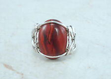 Sterling Silver Red Snakeskin Jasper Wire Wrapped Ring