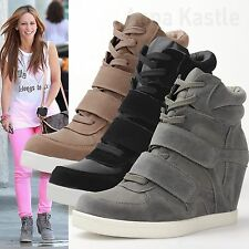 AnnaKastle Womens Double Suede Straps High-Top Sneaker Wedge Trainer US 5 6 7 8