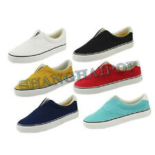 Unisex Slip On Canvas Pumps Shoes Flat Espadrilles Casual Plimsolls Ladies Men