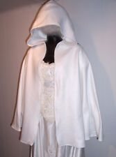 WHITE CAPE HOOD Kids or Misses Costume Cloak Warm Polar Fleece Wedding Party