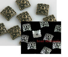 Hot Sell 100pcs Retro Bronze/Silver Plated Rhombic 8mm Bead Caps Finding
