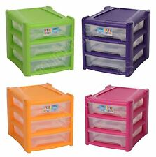 Plastic Storage Drawer Shallow 3 Tier Bedroom Office Tower Cabinet Organiser New